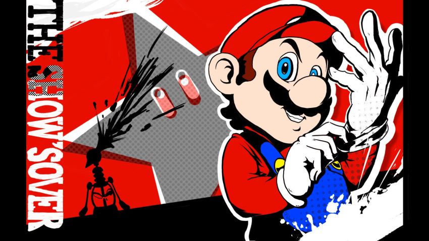 1boy adjusting_clothes atlus blue_eyes brown_hair english english_commentary f.l.u.d.d. gloves grin hat human looking_at_viewer male_focus mario mario_(series) megami_tensei moustache nintendo nintendo_ead overalls parody persona persona_5 plumber qblock634 red_shirt solo splatter star starman_(mario) super_mario_bros. super_mario_sunshine super_smash_bros. super_smash_bros._ultimate super_smash_bros_brawl super_star