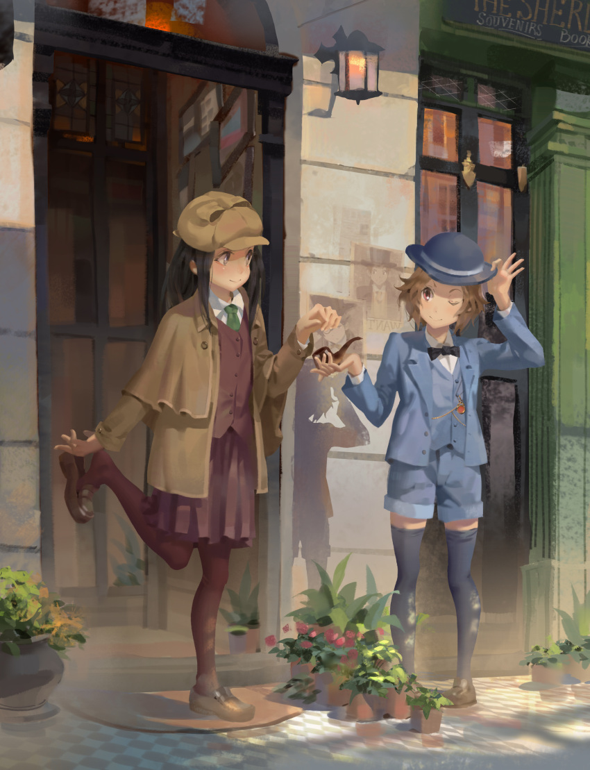 2girls absurdres adjusting_clothes adjusting_hat black_hair black_neckwear blue_headwear blue_jacket blue_legwear blue_shorts blue_vest bow bowtie brown_coat brown_footwear brown_hair brown_headwear brown_legwear chitanda_eru closed_mouth coat commentary deerstalker detective door green_neckwear hat highres holding hyouka ibara_mayaka jacket kimi_ni_matsuwaru_mystery lamppost leg_up loafers long_hair long_sleeves looking_at_another multiple_girls necktie one_eye_closed outdoors pantyhose pipe plant potted_plant psi_(583278318) red_eyes red_skirt shirt shoe_dangle shoes short_hair shorts skirt smile standing thigh-highs vest violet_eyes white_shirt wing_collar