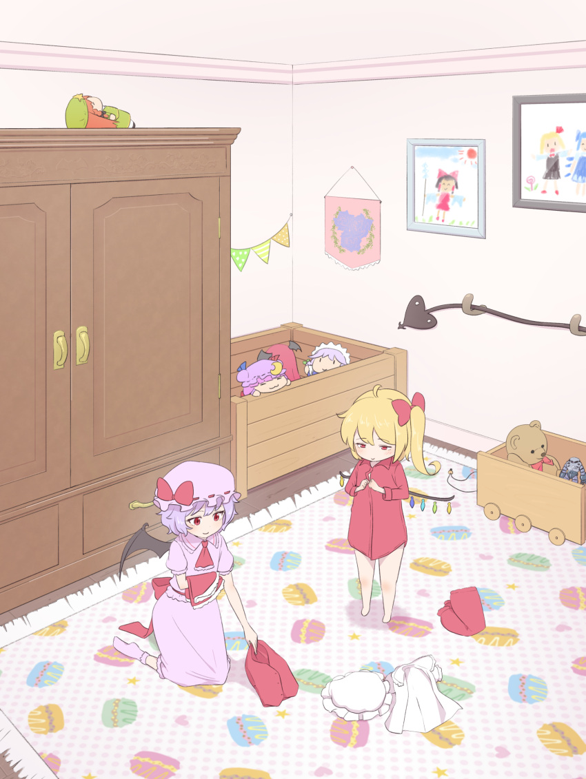 2girls armoire bare_legs bat_wings blonde_hair blue_hair bobby_socks character_doll chibi child_drawing cirno commentary_request cravat flandre_scarlet food from_above hair_ribbon hakurei_reimu hat hat_ribbon headwear_removed heart highres holding_skirt hong_meiling indoors izayoi_sakuya kanpa_(campagne_9) kneeling koakuma laevatein lavender_headwear lavender_legwear lavender_shirt lavender_skirt looking_to_the_side macaron mob_cap multiple_girls no_pants pajamas patchouli_knowledge picking_up picture_(object) picture_frame polka_dot puffy_short_sleeves puffy_sleeves red_eyes red_neckwear remilia_scarlet ribbon rug rumia shadow shirt shirt_removed short_hair short_sleeves siblings side_ponytail sisters skirt skirt_removed smile socks star stuffed_animal stuffed_toy teddy_bear touhou toy_box toy_robot undressing vest_removed white_shirt wings wooden_floor