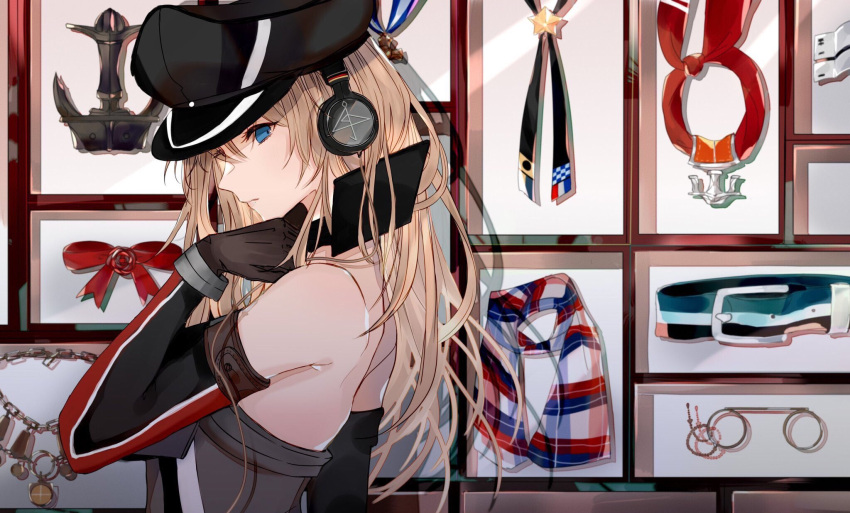 1girl anchor annotation_request belt bismarck_(kantai_collection) blonde_hair blue_eyes brown_gloves commentary_request detached_sleeves glasses gloves hat headphones highres jewelry kantai_collection long_hair looking_at_viewer military_hat multicolored multicolored_clothes multicolored_scarf necklace okayu_(papiko1111) peaked_cap picture_frame pince-nez plaid plaid_scarf profile red_neckwear ribbon scarf solo thigh-highs uniform