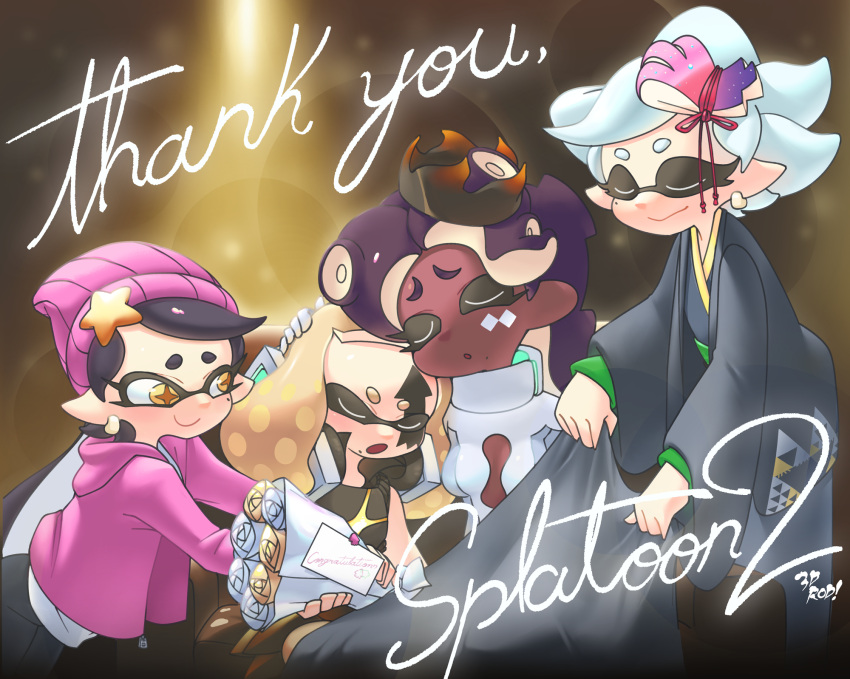 3d_rod! 4girls aori_(splatoon) beanie black_hair blanket bouquet closed_eyes crown dark_skin facial_tattoo flower hair_ornament hand_on_another's_head hat highres hime_(splatoon) hood hoodie hotaru_(splatoon) iida_(splatoon) japanese_clothes kimono leaning_on_person letter looking_at_another mole mole_under_eye mole_under_mouth multiple_girls open_mouth pink_headwear pointy_ears purple_hair silver_hair sitting sleeping sleeping_on_person smile splatoon_(series) splatoon_2 symbol-shaped_pupils tattoo tentacle_hair thank_you