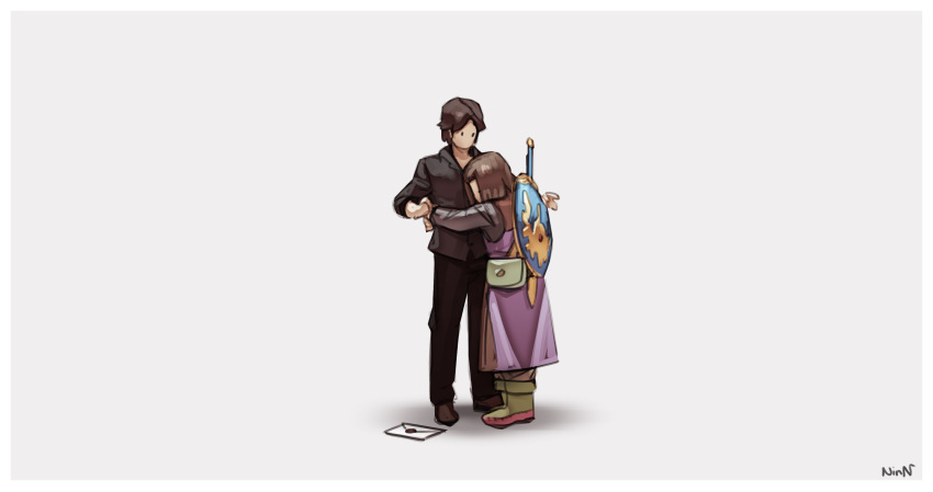 2boys absurdres bag bangs black_pants black_shirt bob_cut boots brown_hair dragon_quest dragon_quest_xi grey_background hal_laboratory_inc. hero_(dq11) highres hug letter luminary male_focus multiple_boys nin_nakajima nintendo no_mouth pants parted_bangs real_life sakurai_masahiro shirt shoulder_bag signature simple_background sora_(company) square_enix super_smash_bros. surprised toei_animation tunic waist_hug