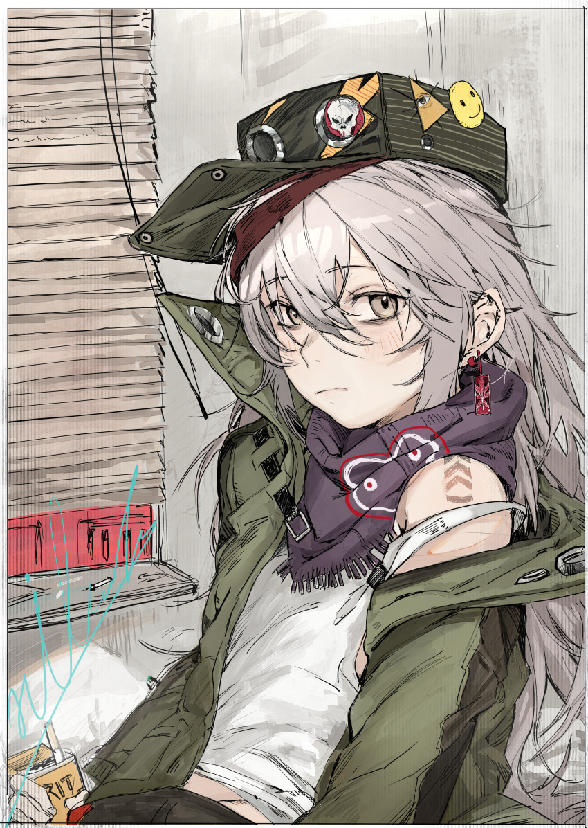 1girl absurdres badge beret black_shorts blinds blush cigarette cigarette_box cigarette_butt coat earrings g11_(girls_frontline) girls_frontline green_headwear green_jacket grey_eyes hat highres hiranko huge_filesize jacket jewelry long_hair looking_at_viewer open_clothes open_coat purple_scarf scarf scarf_on_head shorts signature silver_hair smiley_face solo white_tank_top