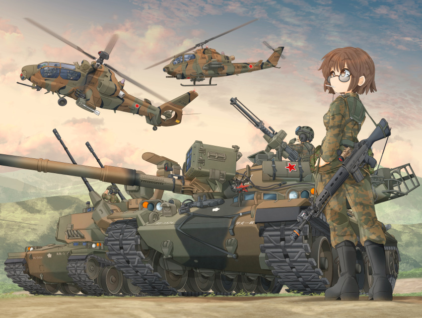 1girl ah-1_cobra aircraft antiaircraft_weapon assault_rifle bangs black-framed_eyewear black_footwear blue_sky boots brown_eyes brown_hair camouflage camouflage_jacket camouflage_pants cigarette clouds cloudy_sky commentary_request dawn emblem eyebrows_visible_through_hair flying green_jacket green_pants grey_sky ground_vehicle gun hand_on_hip harness headset helicopter helmet highres jacket japan_ground_self-defense_force japan_self-defense_force long_sleeves looking_at_another machine_gun mikeran_(mikelan) military military_vehicle missile motion_blur motor_vehicle mountain mouth_hold multiple_others oh-1_ninja original outdoors pants partial_commentary pilot rifle roundel scope short_hair sky solo_focus standing star sunglasses tank type_74 type_87_self-propelled_anti_aircraft_gun weapon weapon_on_back weapon_request