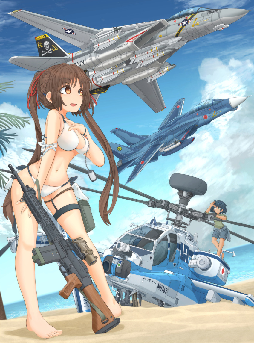 2girls absurdres ah-64_apache aircraft airplane armband assault_rifle bangs barefoot battle_rifle beach bikini black_gloves blue_hair blue_sky bracelet braid breasts brown_eyes brown_hair closed_mouth clothes_around_waist commentary_request day dog_tail dutch_angle elbow_rest eyebrows_visible_through_hair f-14_tomcat fighter_jet flying food gloves green_eyes green_shirt grey_shorts gun hair_ribbon hand_on_own_chest hand_on_own_thigh helicopter highres howa_type_64 jet jewelry leaning_forward legs long_hair long_sleeves looking_at_another medium_breasts mikeran_(mikelan) military military_vehicle multiple_girls multiple_others navel ocean open_mouth original outdoors palm_tree partial_commentary pilot popsicle pouch red_ribbon ribbon rifle roundel scope shirt short_hair shorts side-tie_bikini single_glove skull_and_crossbones sky sleeves_rolled_up smile standing swimsuit tail thigh_strap tied_hair tree twintails us_navy waving weapon white_bikini