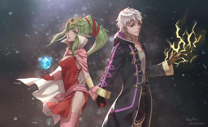 1boy 1girl 2019 adult artist_name azto_dio black_gloves black_robe brown_eyes cape chiki circlet couple dated dragon_girl dress electricity elf english_commentary fire_emblem fire_emblem:_kakusei fire_emblem:_monshou_no_nazo fire_emblem:_mystery_of_the_emblem fire_emblem_awakening fire_emblem_heroes fire_emblem_mystery_of_the_emblem gem gloves green_eyes green_hair hair_ornament hair_ribbon highres holding_hands hood hood_down hooded_robe human intelligent_systems long_hair looking_at_viewer love magic male_my_unit_(fire_emblem:_kakusei) mamkute my_unit_(fire_emblem:_kakusei) nintendo pink_cape pink_dress pointy_ears ponytail red_dress red_gloves red_ribbon reflet ribbon robe robin_(fire_emblem) robin_(fire_emblem)_(male) short_dress side_slit strapless strapless_dress super_smash_bros. teenage tiara tiki_(fire_emblem) white_hair