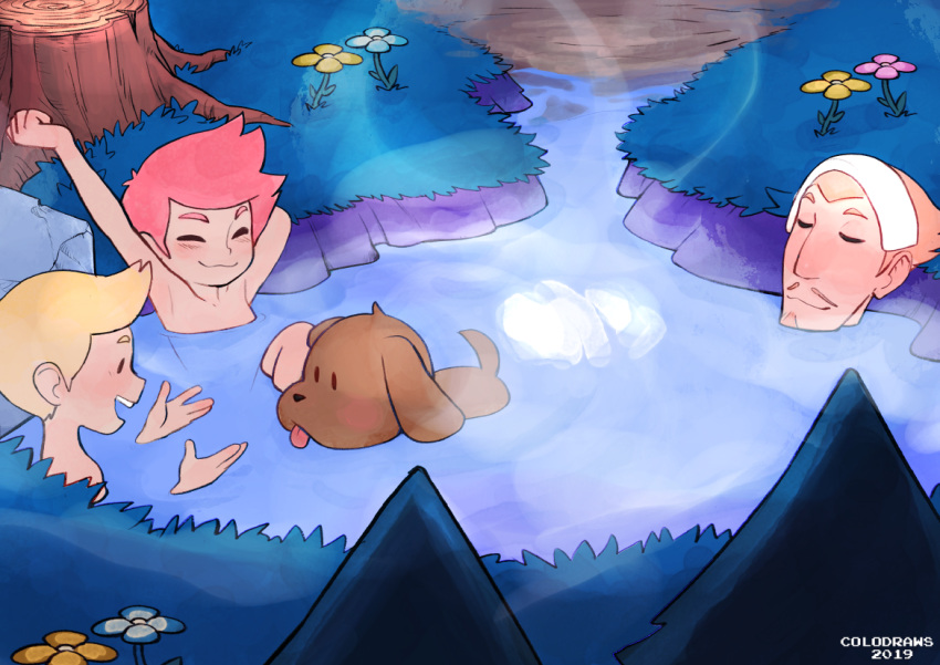 1girl 2019 2boys animal artist_name bathing blonde_hair boney brown_hair closed_eyes colo_(nagrolaz) dog duster_(mother) ears eyebrows facial_hair flower goatee grass kumatora lucas mother_(game) mother_3 multiple_boys mustache nose nude onsen pine_tree pink_hair rock steam stretch tail teeth tongue tongue_out towel towel_on_head tree tree_stump water