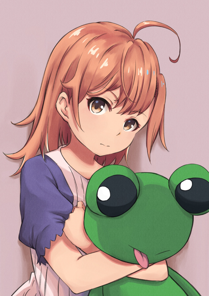 1girl ahoge bangs brown_eyes brown_hair chobbi commentary_request eyebrows_visible_through_hair frog grey_background highres looking_at_viewer misaka_mikoto object_hug shirt short_hair short_sleeves simple_background solo stuffed_animal stuffed_toy to_aru_majutsu_no_index white_shirt