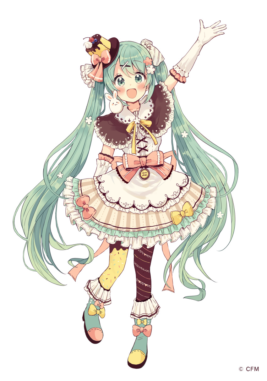 1girl :d absurdres animal animal_on_shoulder arm_up blush boots bow brown_capelet brown_legwear brown_skirt capelet cream elbow_gloves flower food food_themed_clothes frilled_skirt frills full_body gloves green_eyes green_footwear green_hair hair_flower hair_ornament hair_ribbon hairclip hat hatsune_miku highres long_hair looking_at_viewer mini_hat mismatched_legwear open_mouth pantyhose pink_bow pudding rabbit ribbon sakura_oriko shirt simple_background skirt smile solo striped tilted_headwear twintails vertical-striped_skirt vertical_stripes very_long_hair vocaloid watermark white_background white_flower white_gloves white_ribbon white_shirt x_hair_ornament yellow_bow yellow_legwear