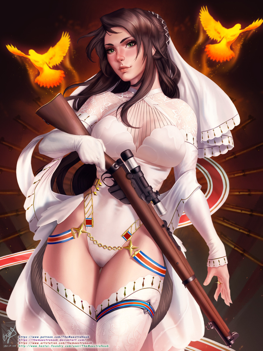 1girl bangs bird breasts bridal_veil bride brown_hair english_commentary georgy_stacker girls_frontline gloves green_eyes gun hair_ornament highres holding holding_weapon jewelry large_breasts lee-enfield_(girls_frontline) leotard long_hair red_lips rifle ring solo thigh-highs thighs veil weapon wedding_ring white_gloves white_leotard