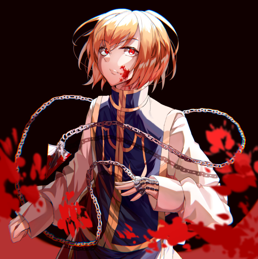1boy blonde_hair blood blood_on_face bloody_weapon chain clothing_request commentary dark_background eyebrows_visible_through_hair hair_between_eyes highres hunter_x_hunter jewelry kanniepan kurapika long_sleeves male_focus red_eyes ring short_hair solo weapon