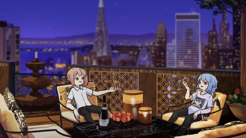 2girls alcohol bat_wings blonde_hair building candle candlelight casual chair champagne city city_lights cityscape contemporary cup drinking_glass flandre_scarlet highres multiple_girls night night_sky pointy_ears red_eyes remilia_scarlet short_hair sitting sky skyline skyscraper table tagme touhou transamerica_pyramid wings yoruny