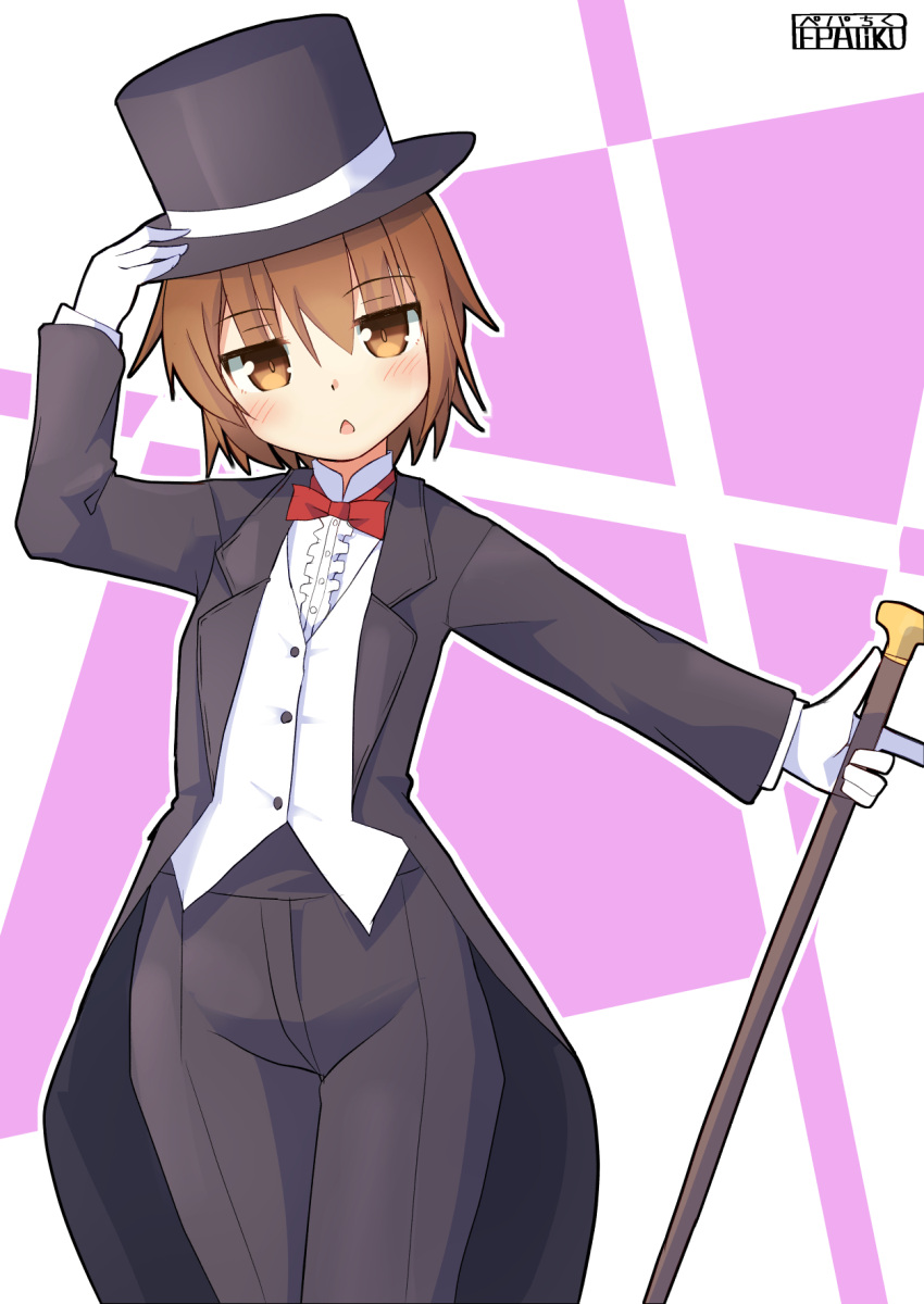 1girl arm_up bangs black_coat black_headwear black_pants blush bow bowtie brown_eyes brown_hair buttons center_frills chestnut_mouth collared_shirt cowboy_shot dress_shirt eyebrows_visible_through_hair formal gloves hair_between_eyes hand_on_headwear hat hat_ribbon highres holding_cane kantai_collection long_sleeves looking_at_viewer magician outline outstretched_arm pants pepatiku red_bow red_neckwear ribbon shirt signature solo standing top_hat waistcoat wakaba_(kantai_collection) white_gloves white_outline white_ribbon