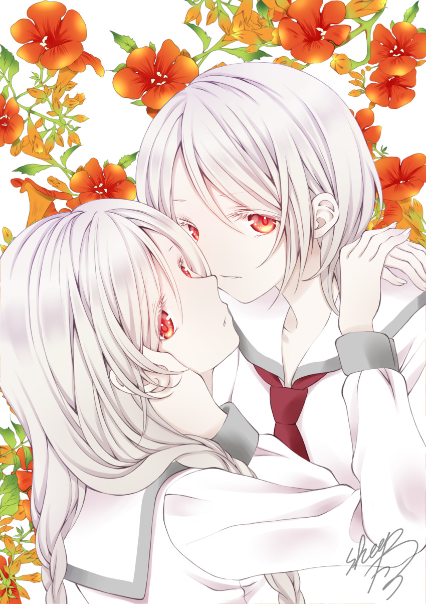 2girls albino bangs colored_eyelashes commentary_request flower grey_hair hair_between_eyes hair_over_shoulder hand_on_another's_face highres long_hair low_twintails multiple_girls original parted_lips red_eyes red_flower red_neckwear sailor_collar school_uniform serafuku sheepd shirt siblings signature sisters twins twintails upper_body white_background white_sailor_collar white_shirt yuri