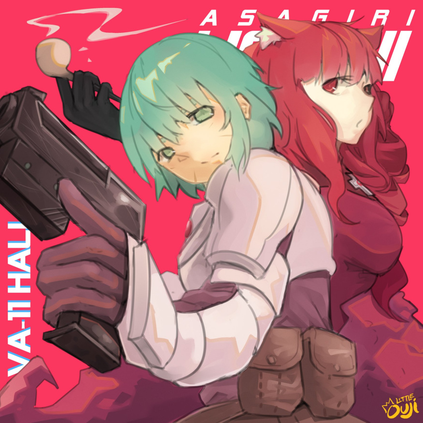 2girls animal_ears aqua_eyes aqua_hair artist_name body_armor cat_ears character_name fanny_pack gun handgun highres little_ouji multiple_girls pipe pouch red_background red_eyes redhead sei_asagiri smoke stella_hoshii trigger_discipline va-11_hall-a weapon