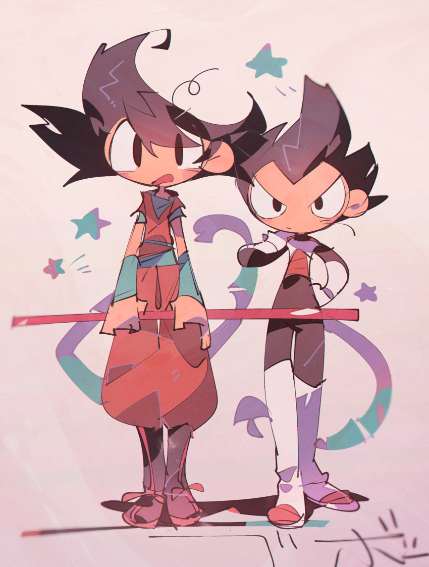 >:( 2boys abstract armor arms_at_sides beige_background black_eyes black_footwear black_hair blurry blush blush_stickers boots d: depth_of_field dougi dragon_ball dragon_ball_super dragon_ball_z expressionless eyes_visible_through_hair frown full_body gloves hand_on_hip hand_on_own_shoulder height_difference highres holding looking_at_viewer male_focus messy_hair monkey_tail multiple_boys nyoibo open_mouth shadow side-by-side simple_background son_gokuu spiky_hair standing star starry_background suzuka_g tail thigh_gap v-shaped_eyebrows vegeta white_footwear white_gloves wristband
