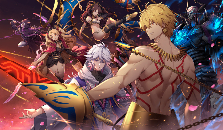 3boys 3girls ahoge anklet armlet armor asymmetrical_legwear asymmetrical_sleeves aura bangs bare_shoulders between_breasts black_cape black_cloak black_hair black_legwear blonde_hair body_markings bow bracelet braid breasts bridal_gauntlets buckle cape chain cloak collar crown detached_collar diadem dress ea_(fate/stay_night) earrings elbow_gloves enkidu_(weapon) ereshkigal_(fate/grand_order) eyebrows_visible_through_hair fate/grand_order fate_(series) fire floating floating_hair fur-trimmed_cape fur_trim gilgamesh glint gloves glowing glowing_eyes hair_between_eyes hair_ribbon heavenly_boat_maanna holding holding_chain holding_scythe holding_spear holding_weapon hood hoop_earrings horns infinity ishtar_(fate/grand_order) jewelry king_hassan_(fate/grand_order) kiyo_(chaoschyan) long_hair long_sleeves medium_breasts medusa_(lancer)_(fate) merlin_(fate) meslamtaea_(weapon) multicolored multicolored_cape multicolored_clothes multiple_boys multiple_girls navel neck_ring necklace open_mouth parted_bangs parted_lips pelvic_curtain polearm purple_hair red_cape red_eyes red_ribbon ribbon rider robe scythe short_hair single_elbow_glove single_sleeve single_thighhigh skull skull_mask smile spear spikes spine staff thigh-highs tiara two_side_up very_long_hair violet_eyes weapon white_hair white_legwear wind yellow_cape