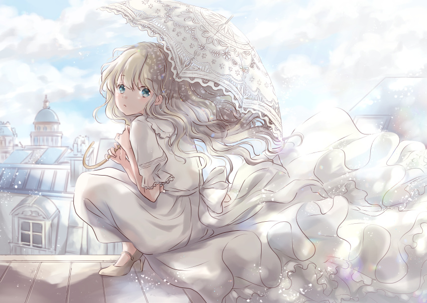 1girl :o architecture blonde_hair blue_eyes blue_sky city clouds commentary_request day dome dress eyebrows_visible_through_hair hair_between_eyes hair_blowing high_heels highres holding holding_umbrella hoshiibara_mato light_particles long_hair looking_at_viewer on_roof original parasol petticoat rooftop short_sleeves sky squatting umbrella very_long_hair white_dress white_footwear wind wind_lift