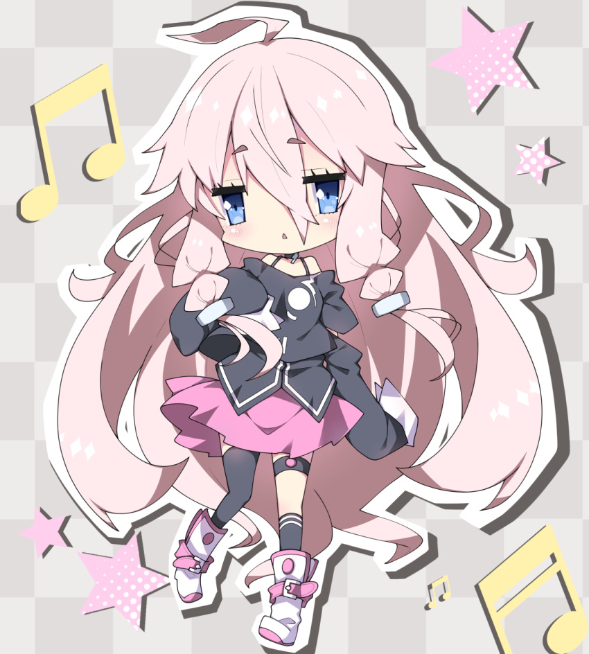 1girl :< ahoge asymmetrical_legwear bangs bare_shoulders beamed_eighth_notes beamed_sixteenth_notes black_legwear black_shirt blue_eyes blush boots checkered checkered_background commentary_request eyebrows_visible_through_hair full_body hair_between_eyes highres ia_(vocaloid) kneehighs long_hair long_sleeves looking_at_viewer milkpanda musical_note off-shoulder_shirt off_shoulder outline parted_lips pink_hair pink_skirt shirt short_eyebrows sidelocks single_kneehigh single_thighhigh skirt sleeves_past_fingers sleeves_past_wrists solo star thick_eyebrows thigh-highs thighhighs_under_boots triangle_mouth very_long_hair vocaloid white_footwear white_outline
