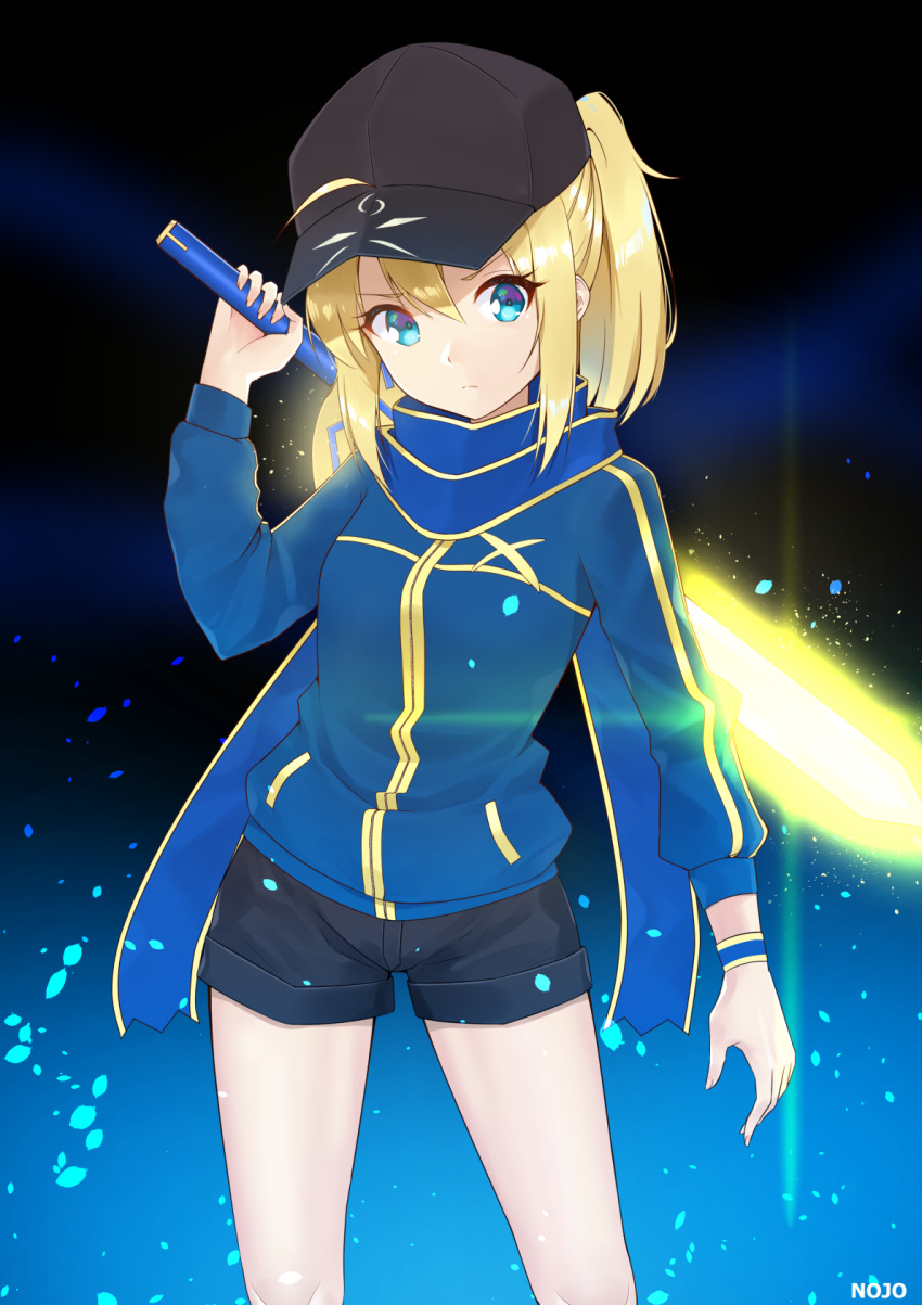 1girl 9nojo ahoge artist_name artoria_pendragon_(all) baseball_cap black_headwear blonde_hair blue_eyes blue_jacket blue_scarf breasts commentary eyebrows_visible_through_hair fate/grand_order fate_(series) hair_between_eyes hat highres holding holding_sword holding_weapon jacket long_hair long_sleeves looking_at_viewer mysterious_heroine_x pixiv_fate/grand_order_contest_2 ponytail scarf shorts sidelocks solo sword track_jacket weapon