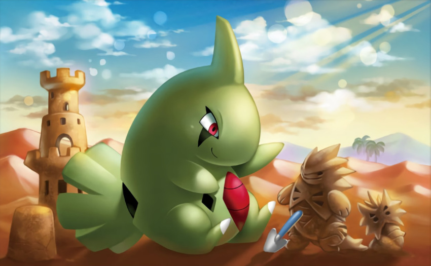 desert gen_2_pokemon green_skin larvitar no_humans official_art palm_tree pokemon pokemon_(creature) pokemon_trading_card_game pupitar red_eyes sand_castle sand_sculpture shovel smirk tyranitar
