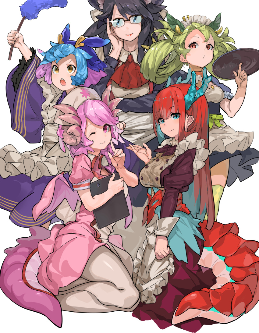 5girls apron artist_request blue_hair dragon_girl dragon_horns dragon_tail dragonmaid_hausky dragonmaid_laudry dragonmaid_nasary dragonmaid_parla dragonmaid_tillroo duel_monster glasses green_hair highres horns maid_apron maid_dress maid_headdress monster_girl multicolored_hair multiple_girls pink_hair redhead tail white_background yuu-gi-ou yuu-gi-ou_duel_monsters