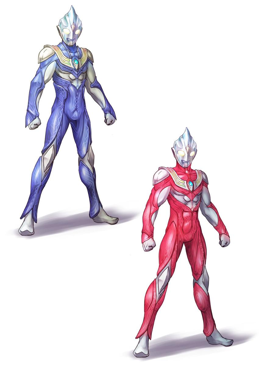 1boy armor blue_bodysuit bodysuit commentary full_body glowing glowing_eyes highres kuroda_asaki male_focus no_humans red_bodysuit solo standing tokusatsu ultra_series ultraman_tiga ultraman_tiga_(series)