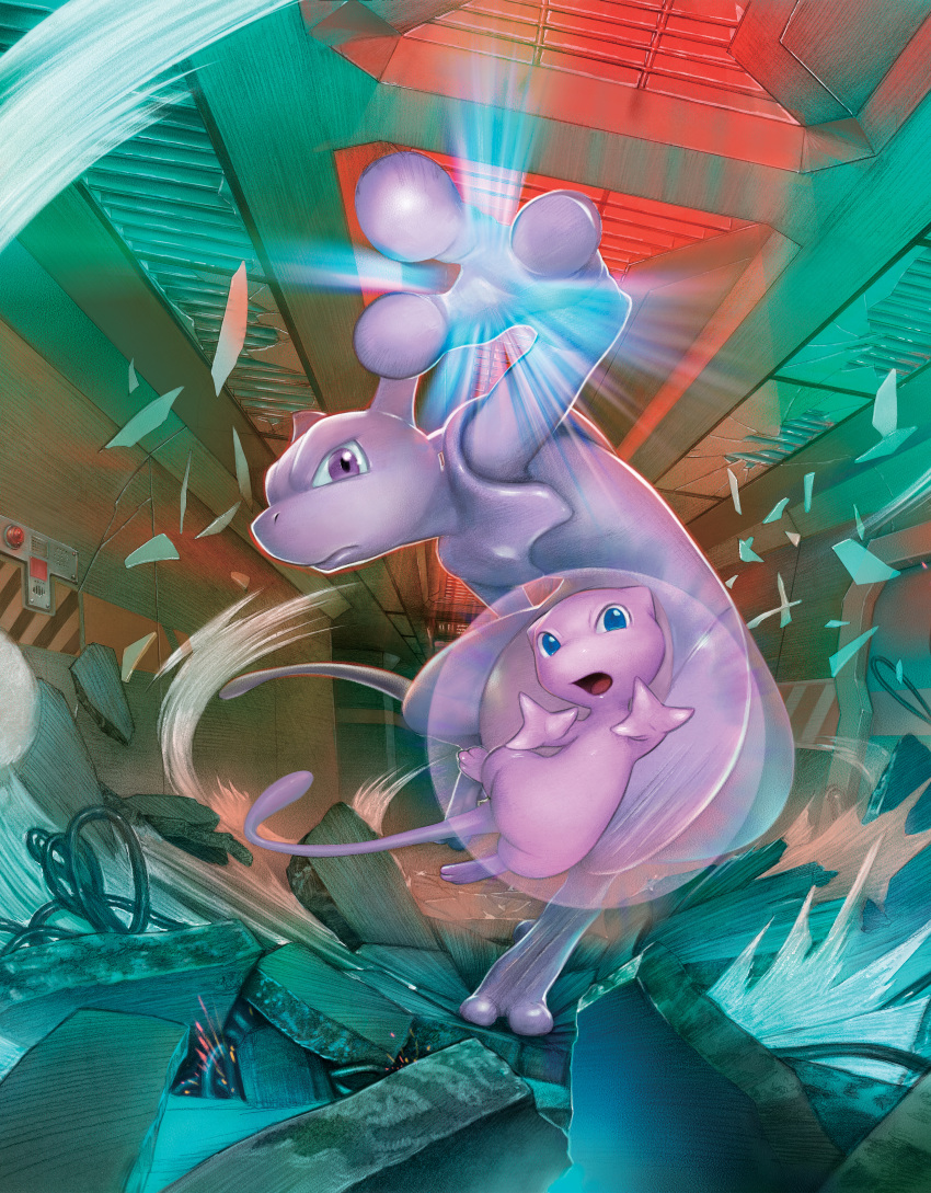 2others absurdres blue_eyes broken_glass gen_1_pokemon glass highres huge_filesize lab legendary_pokemon mew mewtwo multiple_others no_humans official_art violet_eyes