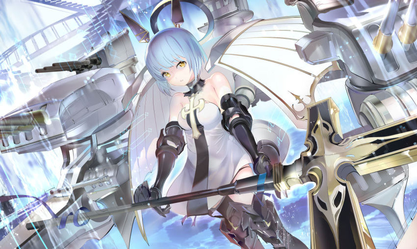 119 1girl armored_boots azur_lane bare_shoulders blue_hair blue_ribbon boots breasts commentary_request dress gascogne_(azur_lane) gauntlets highres holding holding_spear holding_weapon looking_at_viewer machinery medium_breasts panties panty_peek parted_lips polearm ribbon short_hair solo spear strapless strapless_dress turret underwear weapon white_dress yellow_eyes