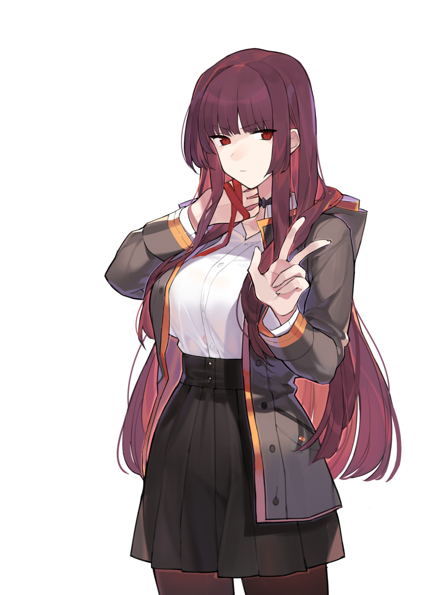 1girl absurdres bangs blunt_bangs breasts choker cowboy_shot eyebrows_visible_through_hair girls_frontline highres hood hooded_jacket hoodie inxst jacket large_breasts long_hair looking_at_viewer open_clothes open_hoodie open_jacket pantyhose pleated_skirt purple_hair red_eyes red_ribbon ribbon school_uniform sidelocks simple_background skirt solo w wa2000_(girls_frontline) white_background