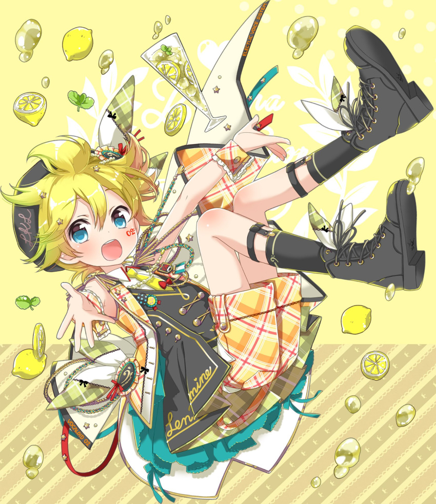 1boy bass_clef blonde_hair blue_eyes boots bow character_name commentary cup drink drinking_glass droplet epaulettes facial_tattoo falling food frilled_wrist_cuffs fringe_trim fruit hair_ornament hair_ribbon headband hekicha highres jacket kagamine_len leaf lemon light_blush looking_at_viewer male_focus mint open_mouth outstretched_arms pants plaid plaid_jacket plaid_pants plaid_wrist_cuffs ribbon short_hair shorts smile socks solo spiky_hair tattoo vocaloid wristband yellow_background