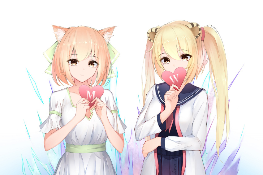 2girls animal_ears arm_across_waist artist_name blonde_hair blue_skirt brown_eyes cat_ears heart highres leria_v light_smile multiple_girls original school_uniform shirt short_hair short_sleeves simple_background skirt standing tiger_ears twintails white_background white_shirt white_skirt