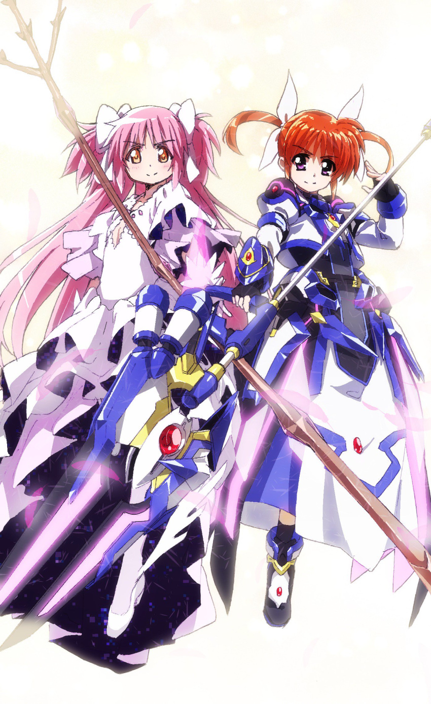 2girls ankle_boots armor armored_dress armored_skirt black_gloves black_legwear boots bow brown_hair bygddd5 closed_mouth crossover dress eyebrows_visible_through_hair fingerless_gloves floating gloves goddess_madoka hair_bow hair_ribbon highres holding holding_staff holding_weapon jacket juliet_sleeves kaname_madoka layered_dress long_dress long_hair long_sleeves looking_at_viewer magical_girl mahou_shoujo_lyrical_nanoha_detonation mahou_shoujo_madoka_magica multiple_girls orange_eyes overskirt pink_hair puffy_sleeves raising_heart ribbon shoes short_hair short_twintails side-by-side smile socks staff takamachi_nanoha twintails two_side_up very_long_hair violet_eyes weapon white_bow white_dress white_footwear white_jacket white_ribbon
