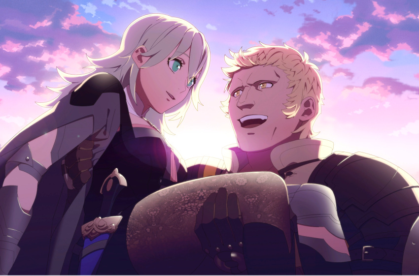 1boy 1girl armor blonde_hair breasts byleth_(fire_emblem) byleth_(fire_emblem)_(female) carrying dagger fire_emblem fire_emblem:_three_houses game_cg gloves green_eyes green_hair highres kurahana_chinatsu laughing long_hair official_art parted_lips princess_carry raphael_kirsten short_hair shorts smile tagme teeth thigh-highs thighs weapon yellow_eyes