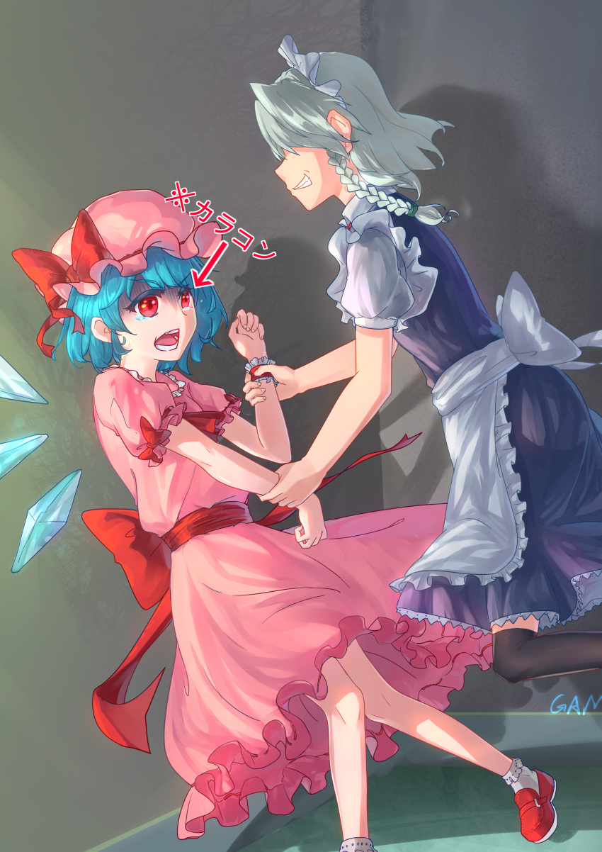2girls absurdres alternate_eye_color apron arm_grab artist_name ascot bangs black_legwear blue_dress blue_hair bobby_socks bow braid chinese_commentary cirno colored_eyelashes commentary_request cosplay crying crying_with_eyes_open directional_arrow dress eyebrows_visible_through_hair feet_out_of_frame from_side gaanzi grabbing grin hat hat_bow highres ice ice_wings indoors izayoi_sakuya looking_at_another maid maid_apron maid_headdress mob_cap multiple_girls open_mouth pink_dress pink_headwear profile puffy_short_sleeves puffy_sleeves red_bow red_eyes red_footwear red_neckwear red_sash remilia_scarlet remilia_scarlet_(cosplay) sash shadow shirt shoes short_dress short_hair short_sleeves signature silver_hair smile socks tears thigh-highs touhou translated v-shaped_eyebrows waist_apron white_apron white_legwear white_shirt wings