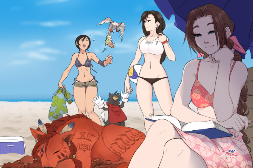 2others 3girls aerith_gainsborough beach bikini bird black_hair blue_bikini blue_eyes blue_sky book braid breasts brown_hair cait_sith cat final_fantasy final_fantasy_vii floral_print ice_cream_cone long_braid long_hair low-tied_long_hair lowleg lowleg_bikini medium_breasts mike_nesbitt multiple_girls multiple_others navel open_book reading red_xiii sabotender sarong short_hair short_shorts shorts side-tie_bikini single_braid sitting sky sleeping small_breasts square_enix standing summer swimsuit tan tankini tifa_lockhart volleyball wristband yuffie_kisaragi