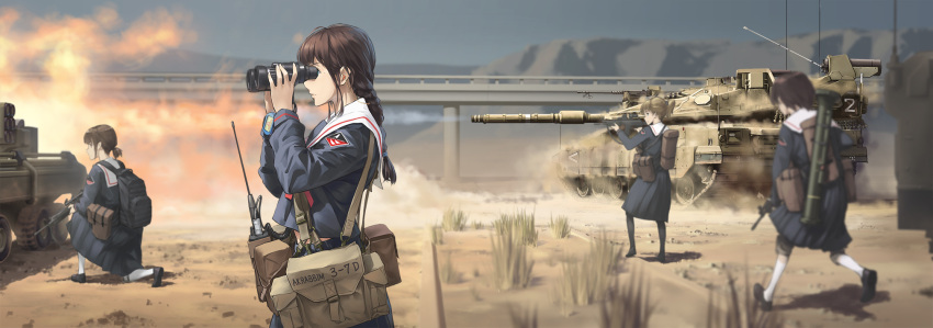 4girls assault_rifle backpack bag binoculars black_hair blouse blue_blouse blue_skirt braid brown_hair cannon caterpillar_tracks commentary_request emblem ground_vehicle gun highres holding holding_binoculars holding_gun holding_weapon long_sleeves low_ponytail military military_vehicle motor_vehicle multiple_girls original pleated_skirt rifle rocket_launcher sailor_collar school_uniform serafuku short_ponytail skirt tank tantu_(tc1995) weapon