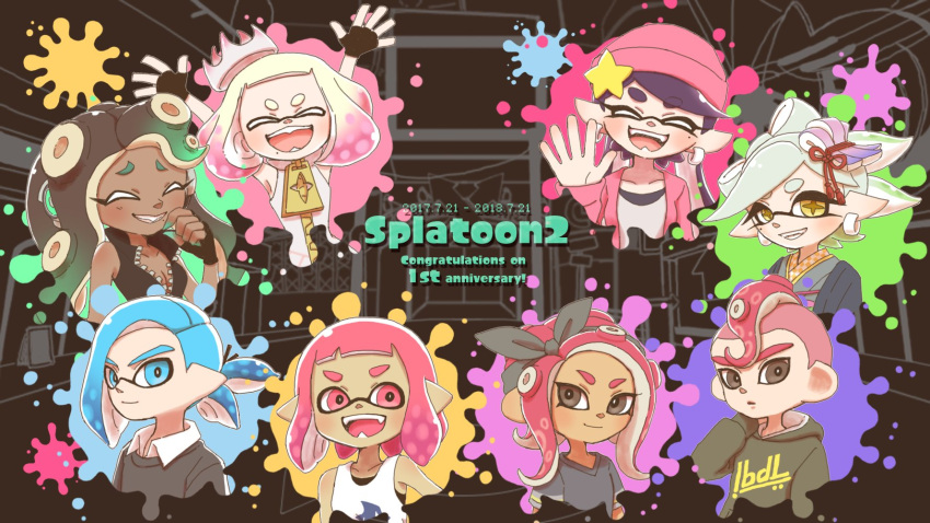 +_+ 2boys 6+girls :d aori_(splatoon) arms_up bangs beanie black_eyes black_gloves black_hair black_ribbon black_shirt blue_eyes blue_hair blunt_bangs brown_eyes closed_eyes closed_mouth clothes_writing collared_shirt commentary copyright_name crown dark_skin dated domino_mask earrings english_text eyebrows_visible_through_hair fangs fingerless_gloves food food_on_head gloves gradient_hair green_hair grey_hair hair_ornament hair_ribbon hand_behind_head hat highres hime_(splatoon) hinana37 hood hoodie hotaru_(splatoon) iida_(splatoon) inkling inkling_(language) jewelry laughing long_hair long_sleeves looking_at_viewer mask multicolored_hair multiple_boys multiple_girls object_on_head octarian octoling open_mouth paint_splatter pink_hair pointy_ears purple_headwear purple_shirt ribbon sharp_teeth shirt short_hair short_ponytail short_sleeves sleeveless smile splatoon_(series) splatoon_2 splatoon_2:_octo_expansion star_hat_ornament suction_cups sushi t-shirt tank_top teeth tentacle_hair waving white_hair zipper_pull_tab