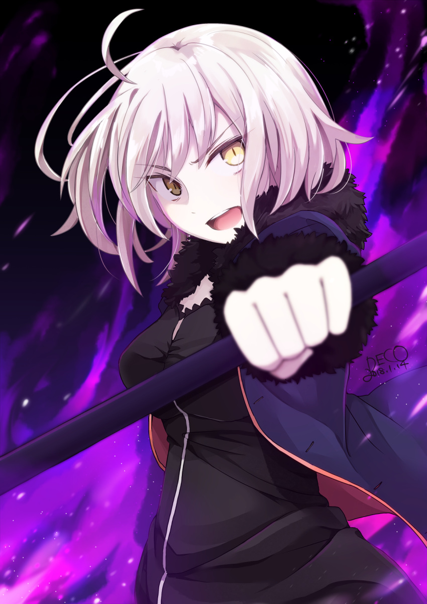 1girl 2018 ahoge artist_name bangs black_dress blue_jacket breasts dated dress eyebrows_visible_through_hair fate/grand_order fate_(series) fur-trimmed_sleeves fur_collar fur_trim highres jacket jeanne_d'arc_(alter)_(fate) jeanne_d'arc_(fate)_(all) medium_breasts misoradeko open_clothes open_jacket open_mouth short_hair solo teeth white_hair wicked_dragon_witch_ver._shinjuku_1999 yellow_eyes