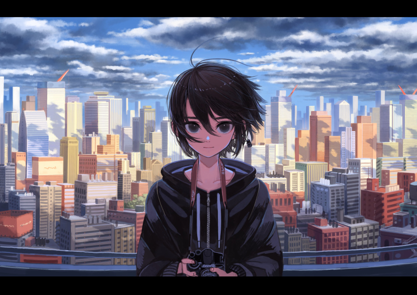 1other black_eyes black_hair camera city cityscape clouds day highres hood hoodie looking_at_viewer original short_hair smile solo window1228