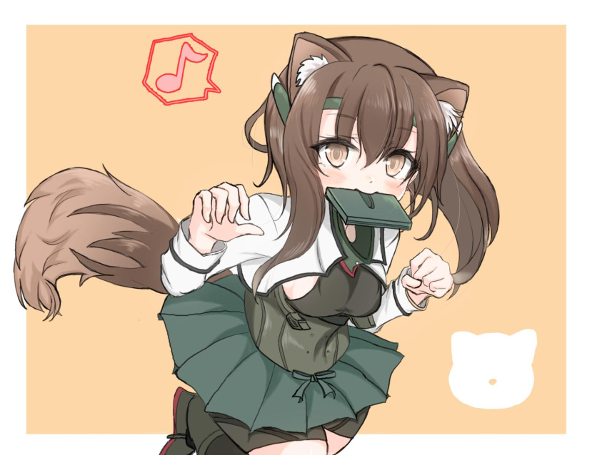1girl animal_ears bike_shorts black_shorts border brown_eyes brown_hair commentary_request cowboy_shot dog_ears dog_tail eighth_note headband headgear highres kantai_collection kasashi_(kasasi008) kemonomimi_mode looking_at_viewer mouth_hold muneate musical_note orange_background pleated_skirt short_hair shorts shorts_under_skirt skirt solo spoken_musical_note taihou_(kantai_collection) tail two-tone_background white_border
