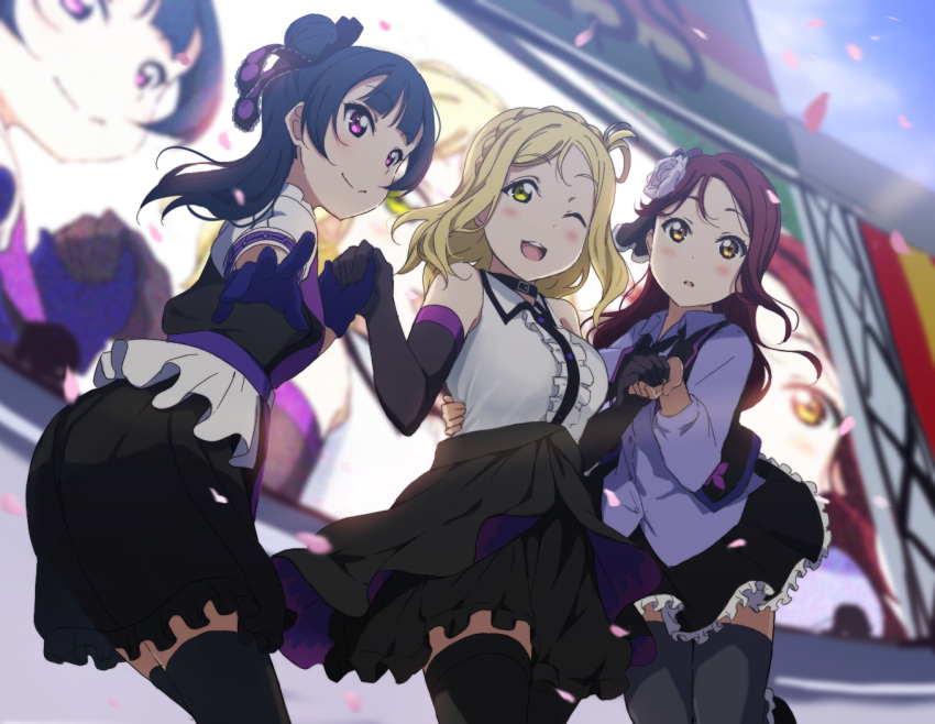 3girls :d :o arm_around_waist bangs black_gloves black_jacket black_legwear black_neckwear black_ribbon black_skirt blonde_hair blue_gloves blue_hair blunt_bangs blush braid breasts center_frills cherry_blossoms choker collared_shirt commentary concert cowboy_shot cropped_jacket crown_braid day dress_shirt elbow_gloves eyebrows_visible_through_hair flower frilled_skirt frills gloves green_eyes guilty_kiss_(love_live!) hair_bun hair_flower hair_ornament hair_ribbon hair_rings holding_hands icehotmilktea idol jacket long_hair long_sleeves looking_at_viewer looking_to_the_side love_live! love_live!_sunshine!! medium_breasts multiple_girls necktie ohara_mari one_eye_closed open_clothes open_jacket open_mouth outdoors outstretched_arm pleated_skirt purple_ribbon purple_shirt redhead ribbon sakurauchi_riko shirt short_sleeves side_bun skirt sky sleeveless sleeveless_shirt smile stage standing strawberry_trapper teeth television thigh-highs tsushima_yoshiko violet_eyes white_flower white_shirt yellow_eyes zettai_ryouiki