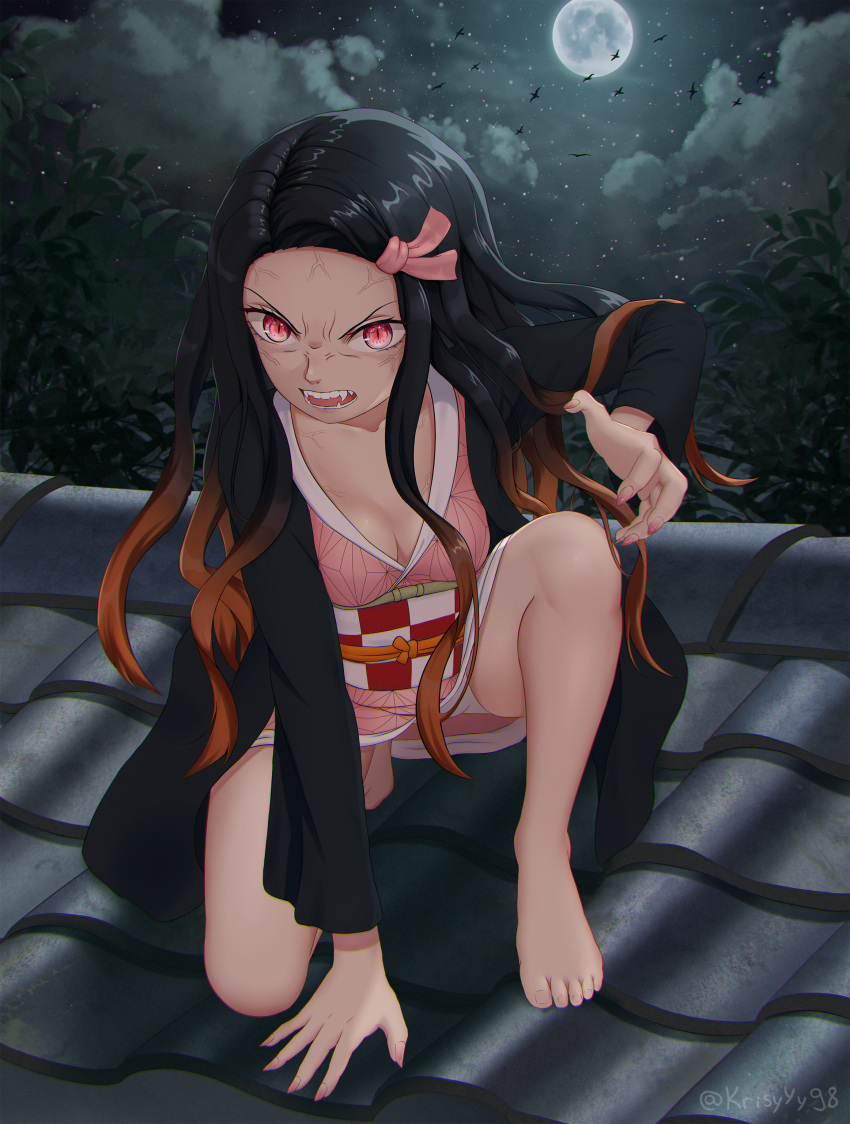 1girl absurdres angry architecture bangs black_hair breasts checkered claw_pose clouds east_asian_architecture eye_contact facing_viewer fangs fingernails forehead full_moon hair_ribbon highres huge_filesize japanese_clothes kamado_nezuko kimetsu_no_yaiba kimono krisyyy long_hair long_sleeves looking_at_another looking_at_viewer moon multicolored_hair night night_sky open_mouth outdoors parted_bangs parted_hair pink_eyes pink_kimono pink_ribbon print_kimono rage_face ribbon rooftop sky solo squatting star star_(sky) starry_background starry_sky teeth tree very_long_hair wide_sleeves