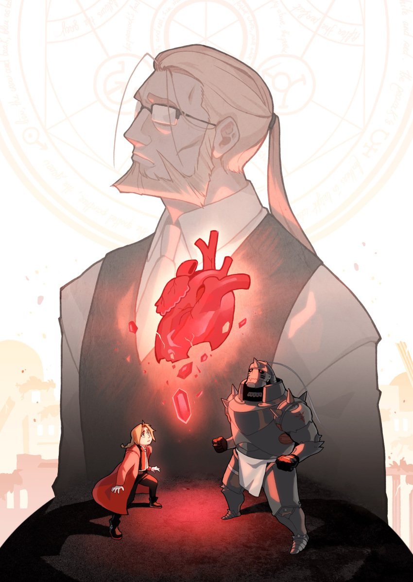 3boys abstract_background absurdres alexia_khodanian alphonse_elric apron armor bags_under_eyes beard blonde_hair brothers commentary dress_shirt edward_elric english_commentary expressionless facial_hair father_and_son flamel_symbol full_armor full_body fullmetal_alchemist furrowed_eyebrows glasses glowing glowing_heart heart_(organ) height_difference highres long_hair long_sleeves looking_up magic_circle multiple_boys necktie philosopher's_stone ponytail semi-rimless_eyewear shirt siblings simple_background van_hohenheim vest white_background white_shirt