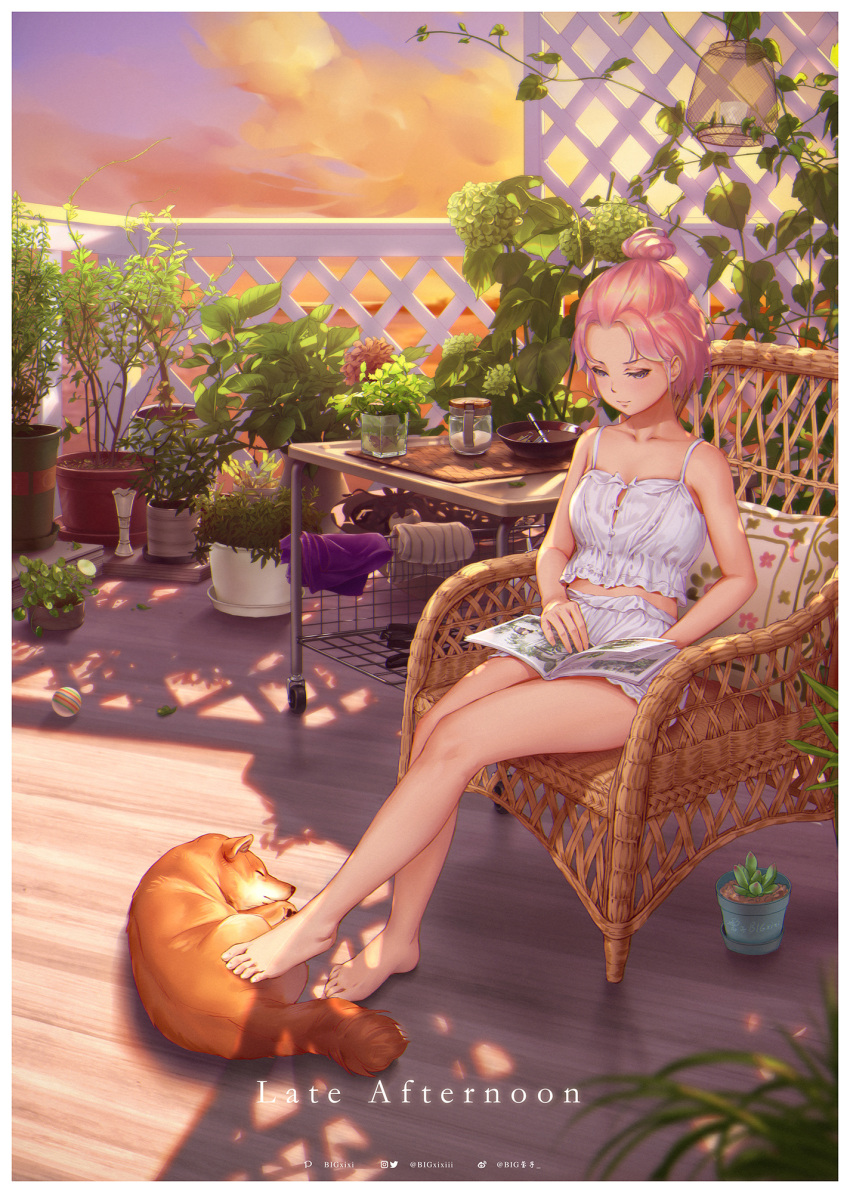1girl animal balcony ball bare_arms bare_legs bare_shoulders barefoot blue_eyes blush bowl camisole candle closed_mouth cloth clouds cloudy_sky collarbone dog drill_hair english_text engrish_text evening flower_pot forehead full_body hair_bun highres jar looking_down maou_renjishi on_chair original outdoors pink_hair pixiv_username plant potted_plant ranguage reading shiba_inu short_hair shorts signature sitting sky smile solo spaghetti_strap sunlight towel twin_drills weibo_username white_shorts
