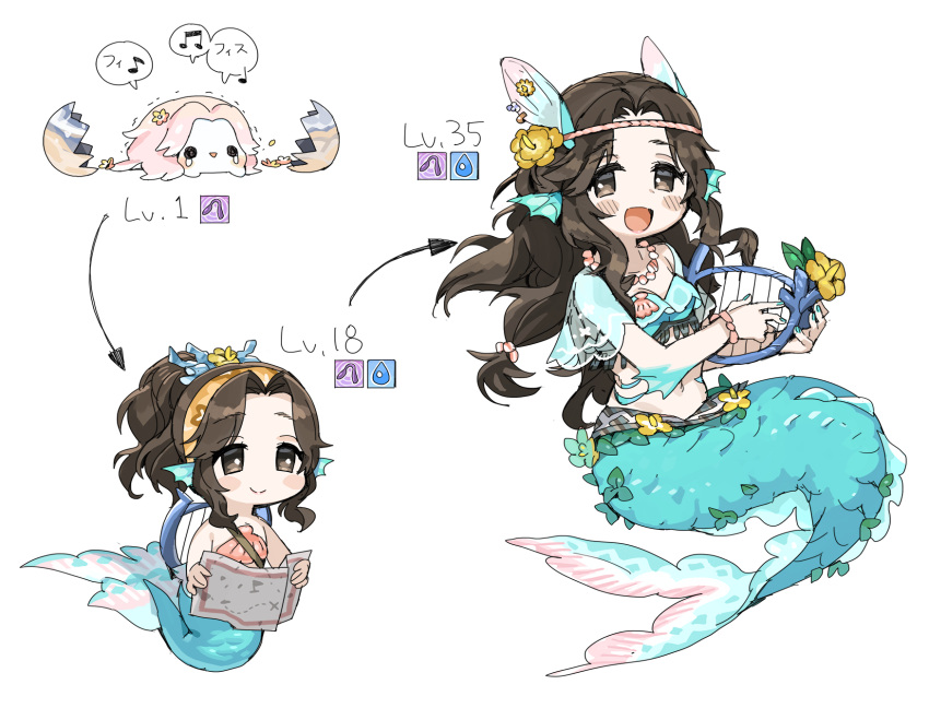 1girl :d ariura_kanna arrow bangs blue_nails blush bracelet brown_eyes chibi dot_nose egg evolution fish_girl flower full_body hair_flower hair_ornament hair_up harp head_fins highres idolmaster idolmaster_cinderella_girls instrument jewelry looking_at_viewer map mermaid monster_girl multiple_views musical_note navel necklace no_nose open_mouth parted_bangs ponytail see-through_sleeves shell shell_bikini shell_necklace smile spawnfoxy tied_hair treasure_map wavy_hair