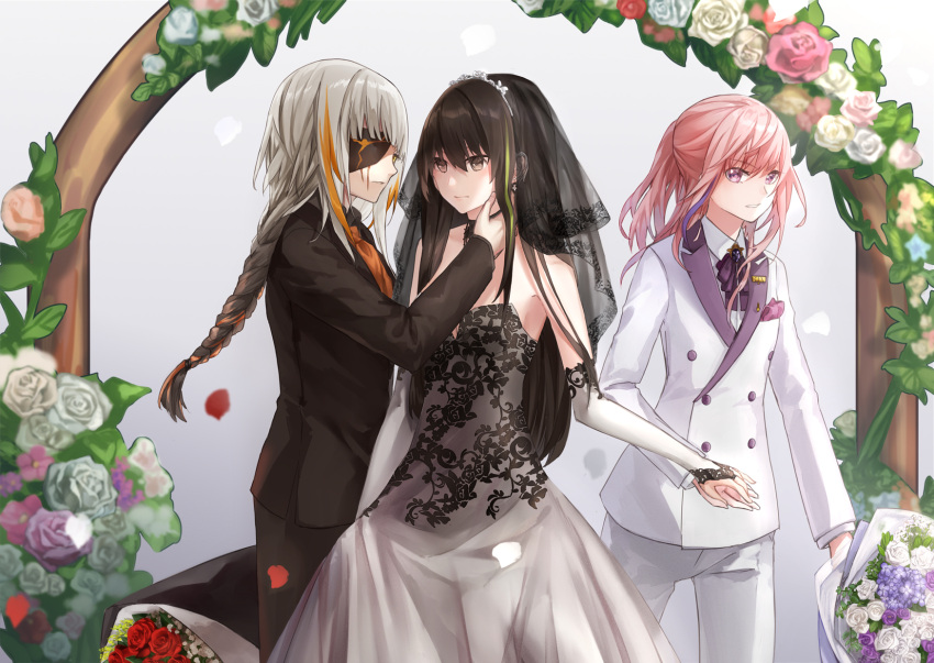 3girls alternate_costume alternate_hairstyle bangs bare_shoulders black_dress black_hair black_wedding_dress blonde_hair bouquet breasts bridal_veil bride brown_eyes business_suit commentary_request dress elbow_gloves eyepatch facial_scar flower formal girls_frontline gloves green_hair hair_between_eyes hair_flower hair_ornament highres holding_hands lady_dokuro long_hair long_sleeves looking_at_another m16a1_(girls_frontline)_(boss) m4a1_(girls_frontline) multicolored_hair multiple_girls necktie pink_hair ponytail sangvis_ferri scar scar_across_eye st_ar-15_(girls_frontline) streaked_hair suit tuxedo veil violet_eyes wedding wedding_dress white_hair wife_and_wife yellow_eyes