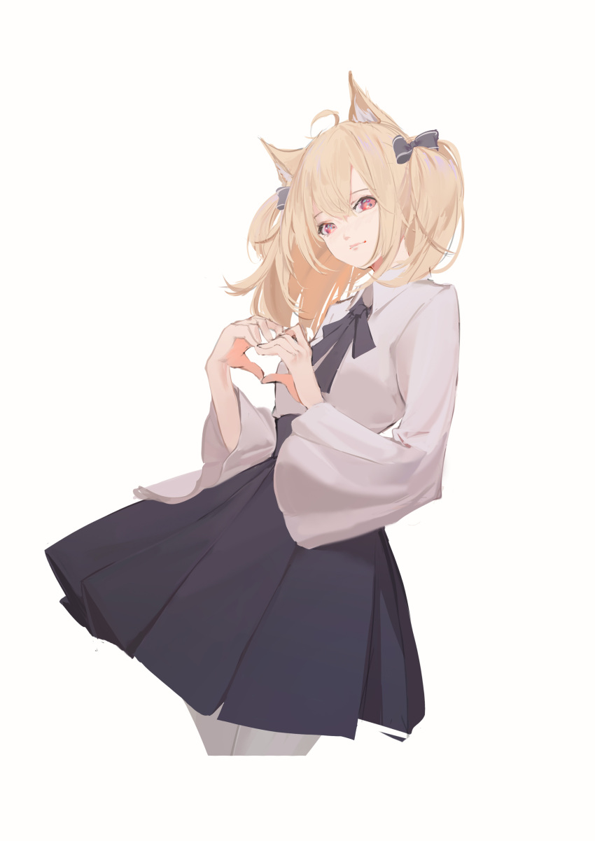1girl absurdres ahoge animal_ear_fluff animal_ears arknights bangs black_bow black_skirt blonde_hair bow closed_mouth collared_shirt commentary_request cowboy_shot cropped_legs eyebrows_visible_through_hair grey_legwear hair_between_eyes hair_bow hands_up heart heart_hands highres long_sleeves looking_at_viewer pantyhose pleated_skirt red_eyes shirt simple_background skirt solo sora_(arknights) storia twintails white_background white_shirt wide_sleeves