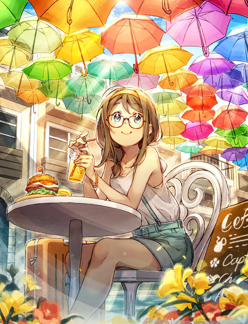 1girl brown_hair building cafe chair commentary_request cup day drinking_straw elbows_on_table flower food fried_egg glasses green_eyes hair_over_shoulder hairband hamburger highres holding holding_cup hotechige lemonade long_hair low-tied_long_hair menu_board mini_flag original outdoors parasol red_flower shirt shorts sidelocks sitting sleeveless sleeveless_shirt smile solo suitcase suspender_shorts suspenders table too_many_umbrellas umbrella white_shirt yellow_flower