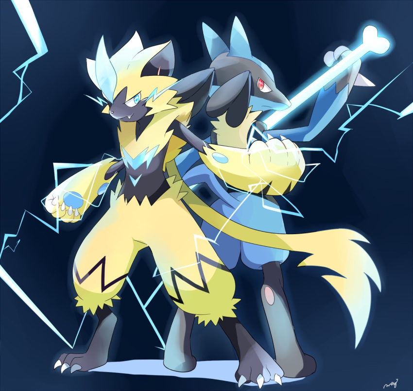 animal_ears arm_up artist_name back-to-back blue_background blue_eyes bone cat_ears cat_tail claws clenched_hand closed_mouth electricity eye_contact fang from_behind full_body furry gen_4_pokemon glowing hand_up highres holding jpeg_artifacts legendary_pokemon looking_at_another looking_back lucario mei_(maysroom) no_humans pawpads paws pokemon pokemon_(creature) red_eyes signature simple_background smile standing tail wolf_ears zeraora
